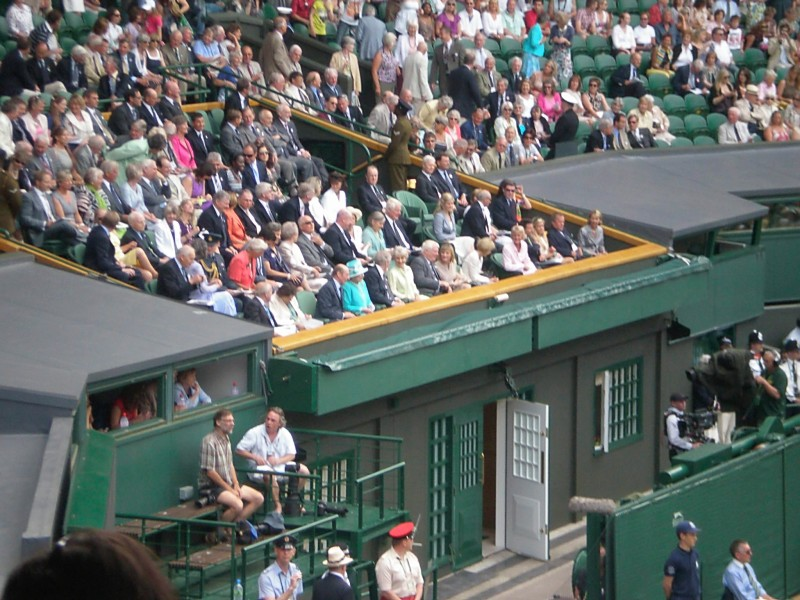 My photo of Queen Elizabeth (in turquoise) at Wimbledon 2010