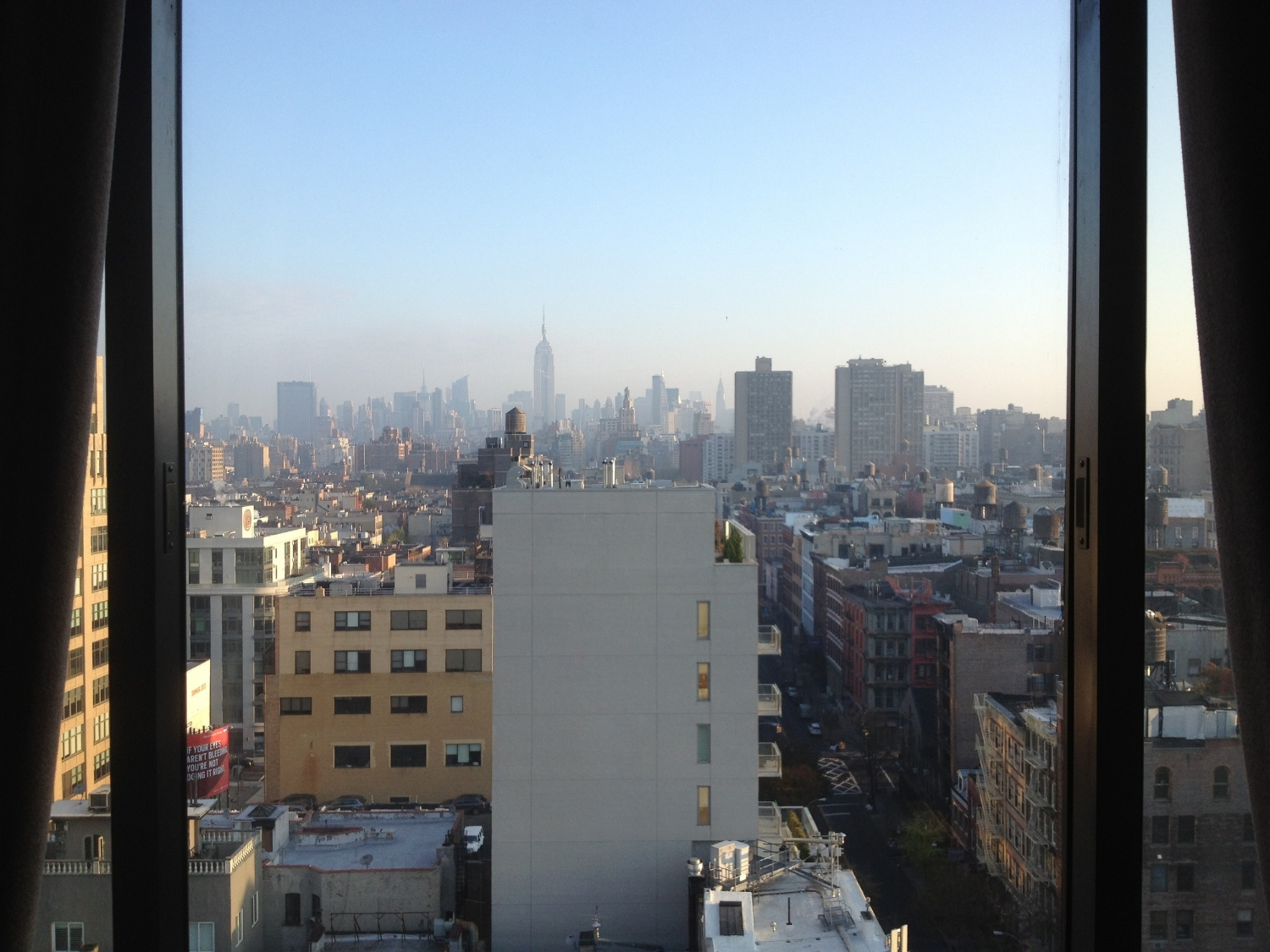 Morning fog in Manhattan.  Photo by Norah Woodsey