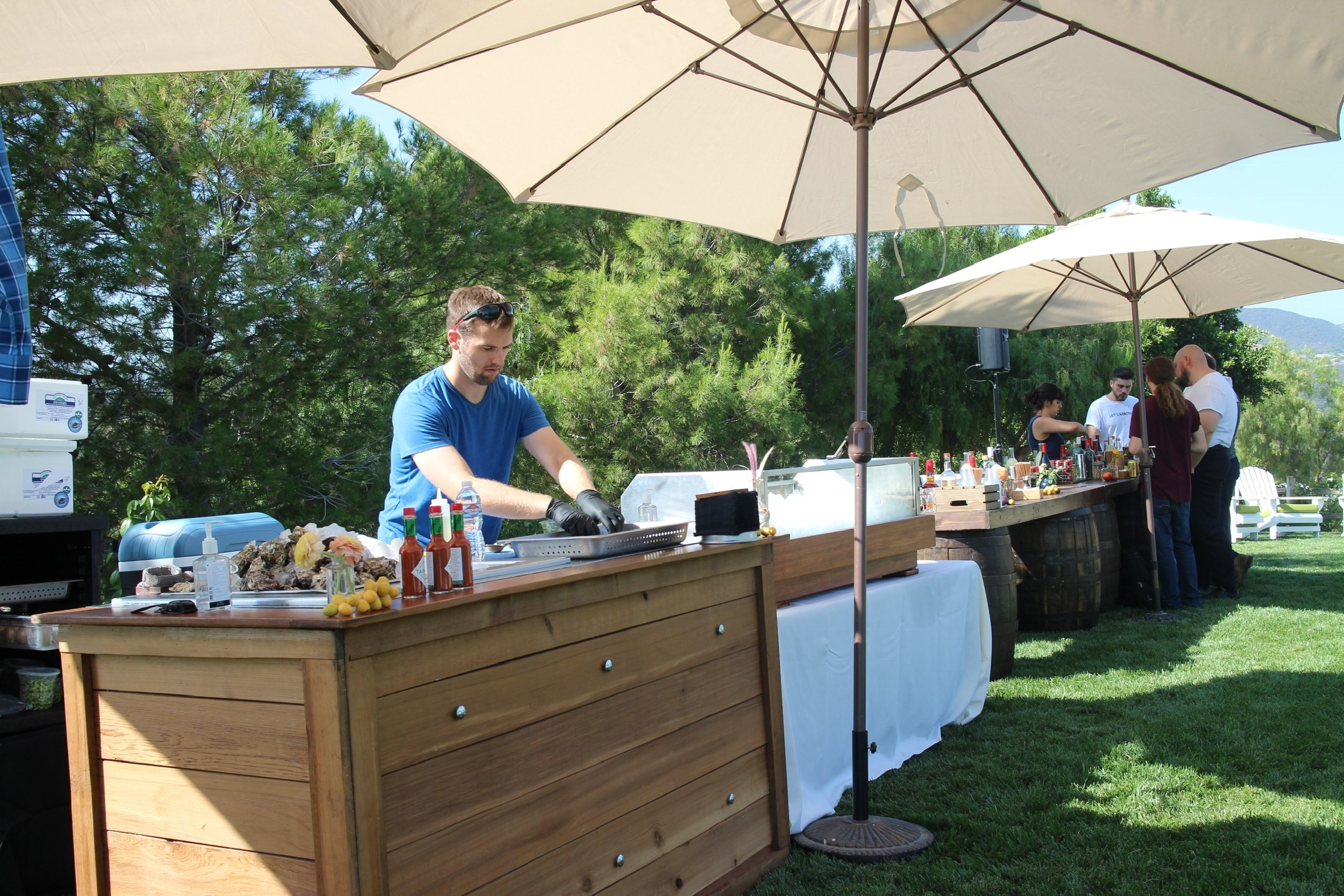 Wedding in Malibu..setting up the oyster bar for 200 guests.