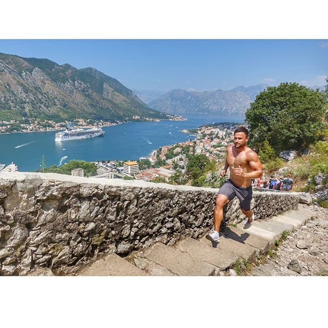 "Some days it's strength training and other days it's all about stamina! The goal is to get better... Physically & mentally. Loved this challenge on this beautiful day. Blessed with ""wallpaper worthy views"" of Kotor, Montenegro. Stunning!"