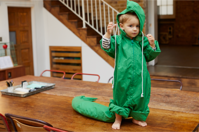 Billy dressed as the cutest little Dinosaur