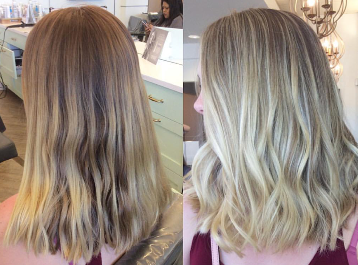 Before and After of babylights! You can see the fine ribbons of highlights, and still quite a bit of the natural color while still keeping the light blonde ends.