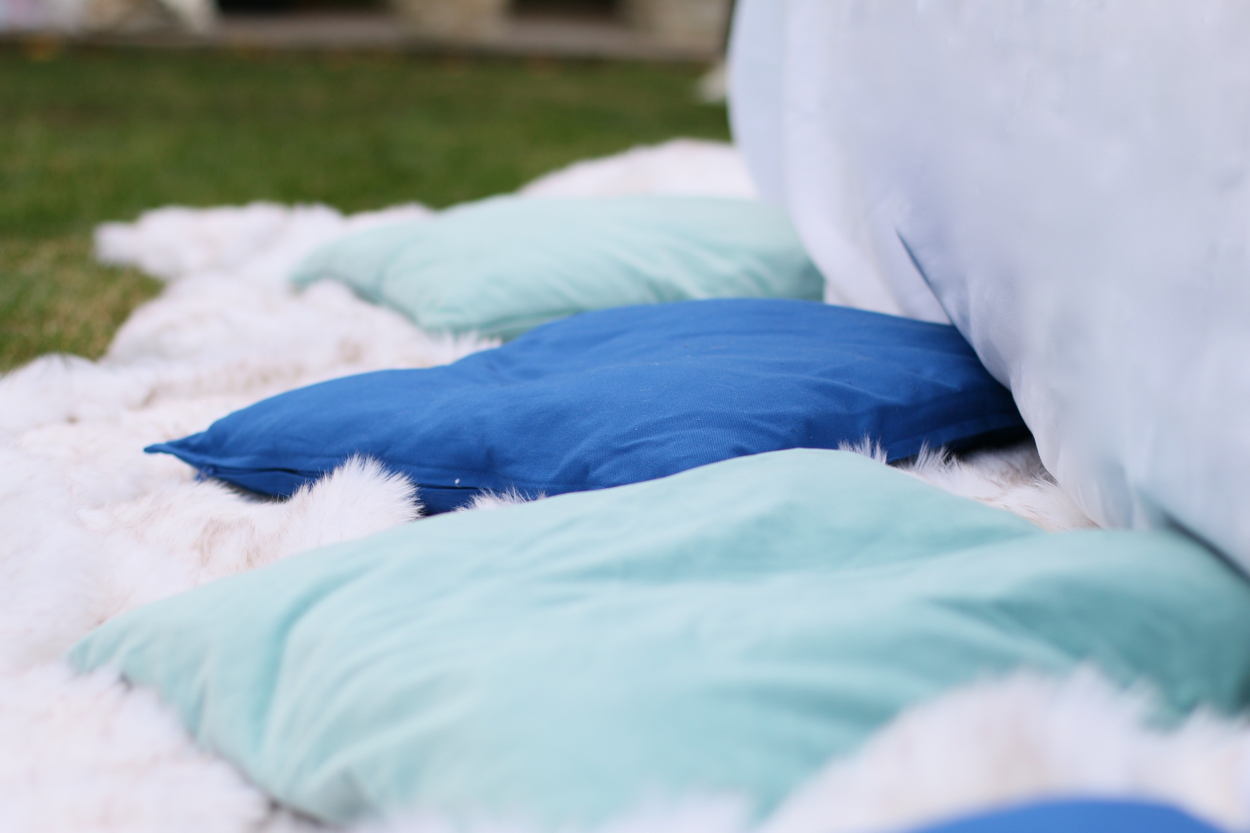 Faux fur, pillows, plush floor seating! - FROZEN PARTY rentals! @inJOYtheParty