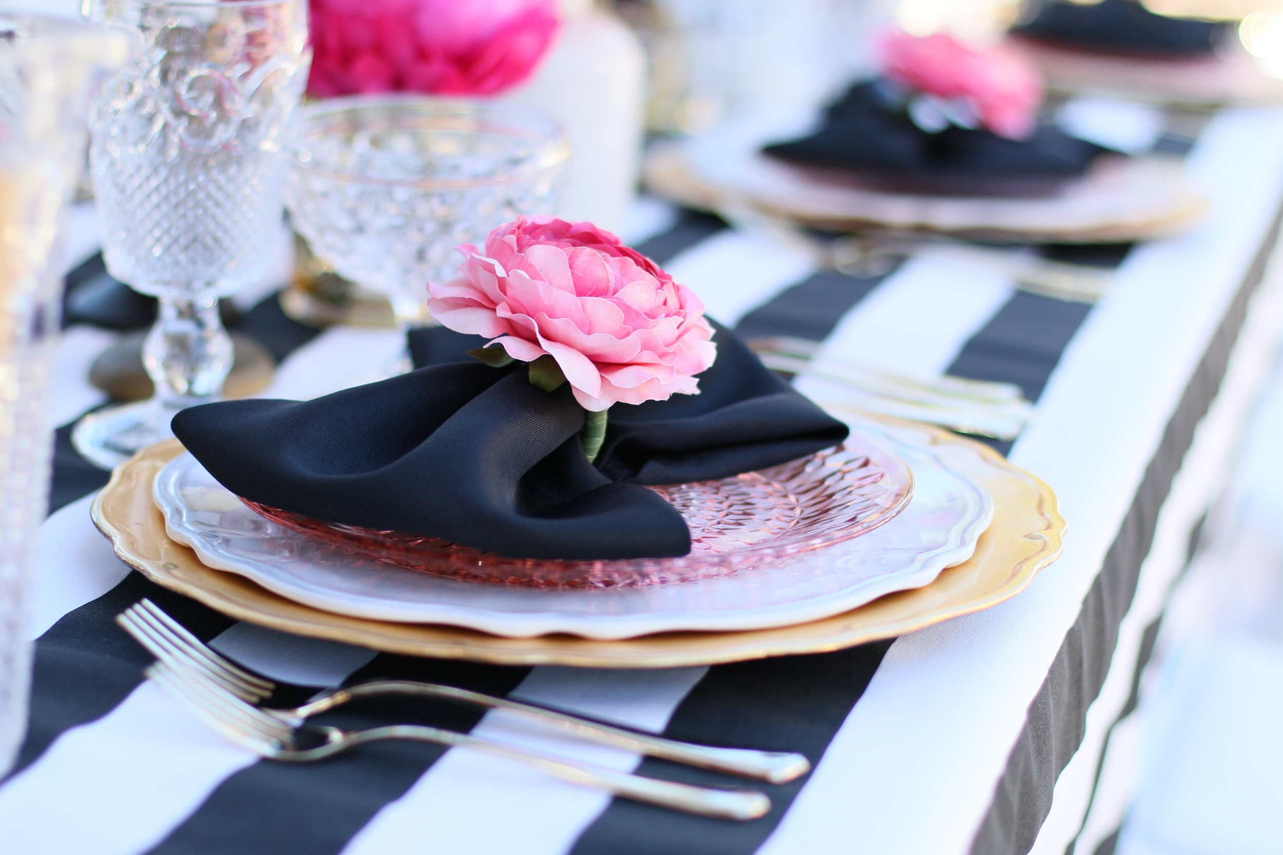 "You'll want to find a reason to celebrate with our ""Pink Please"" Rental Collection! Everything here is prepackaged to rent! Black & White Stripes + Pink Peonies + gold accents = LOVE! @inJOYtheParty"
