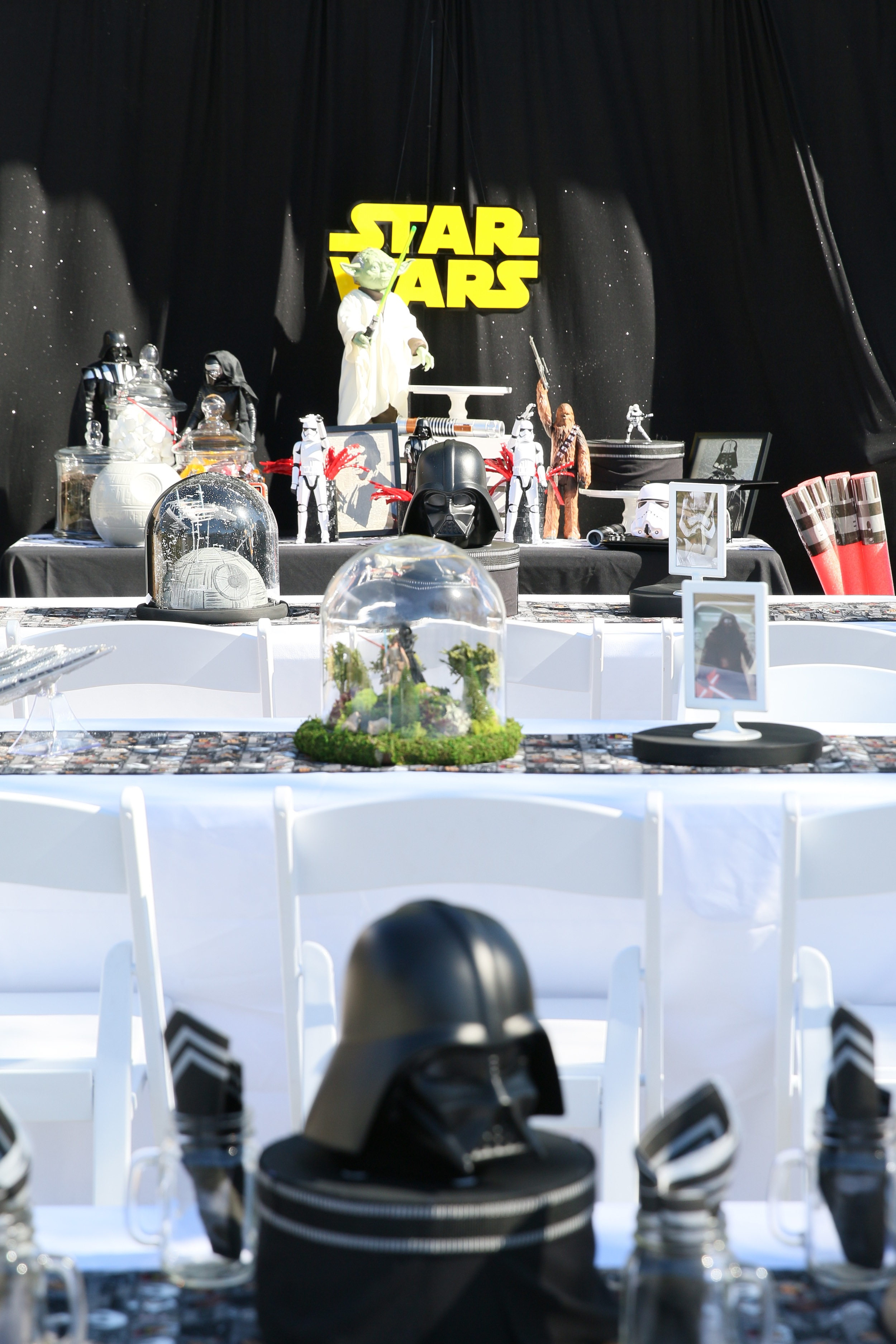 Copy of This Star Wars party rental collection will awaken the force in all party guests! Star Wars action figures, signage, linens, and centerpieces are all included to make your party planning simple!