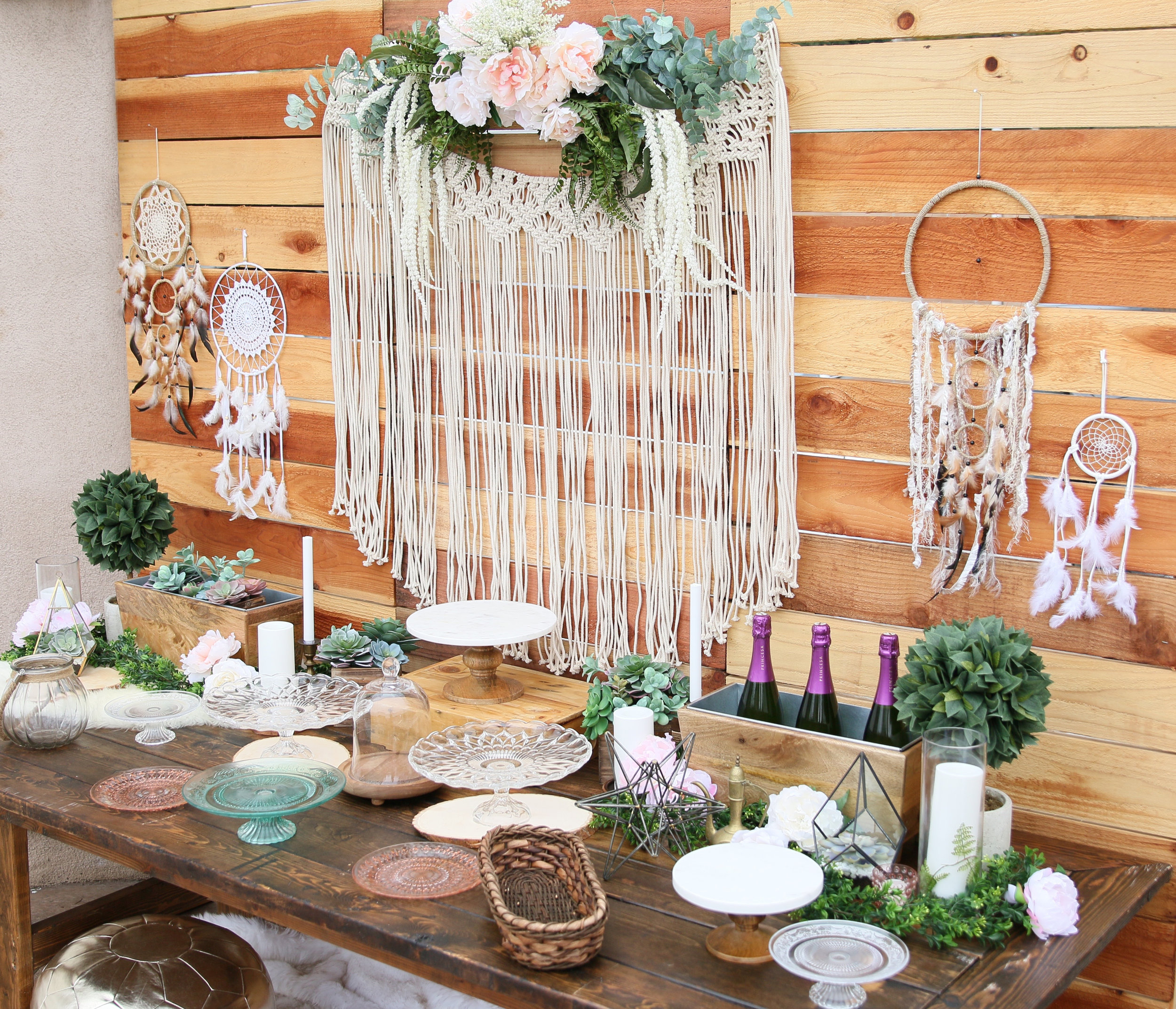 Copy of A gorgeous pre-curated rental collection with succulents, pops of blush, dreamcatchers, and rustic wood accents. Make it yours for your next baby or bridal shower! @inJOYtheParty