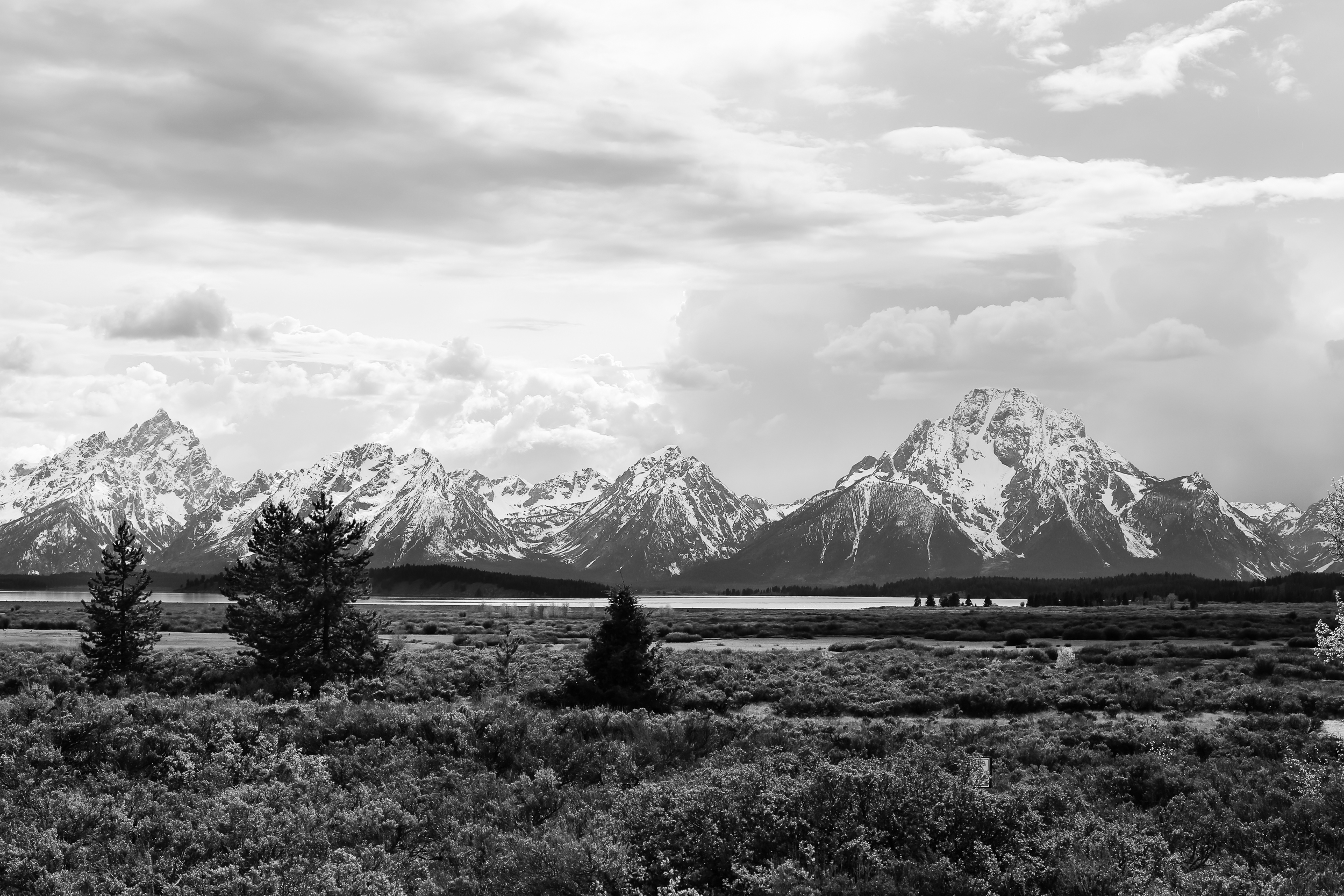 "View from within Grand Teton National Park, Wyoming , on the drive up to Yellowstone from Salt Lake City. If you do this trip, definitely take the ""scenic"" route!  Shot with 50mm lens on a Canon 5D, ISO 100, f/8.0, 1/160 secs."