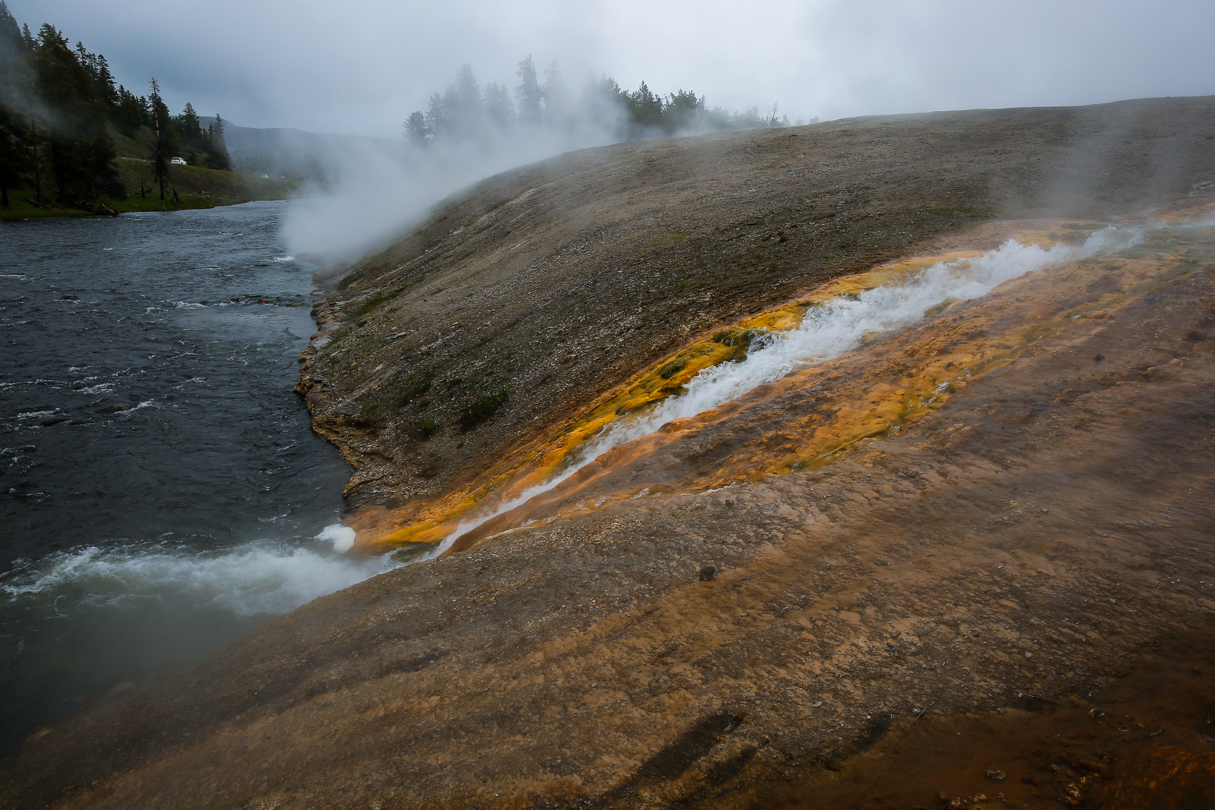 Run-off from Excelsior Geyser into Firehole River