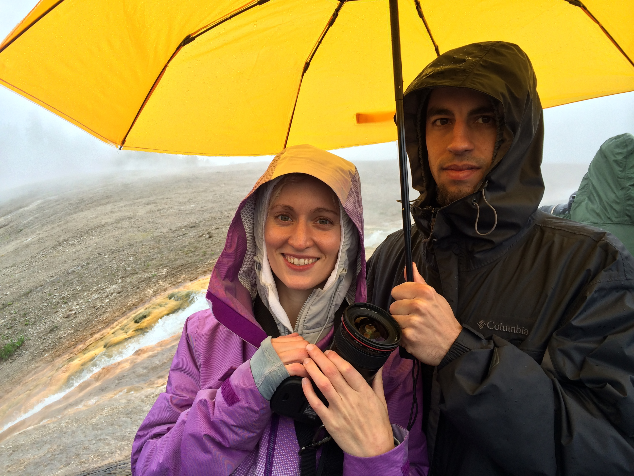 In the rain at Midway Geyser Basin. Image Credit: Peggy Miller