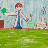 Drawing from the original Draw a Scientist Study. Chambers (1983). Image via Wikipedia.