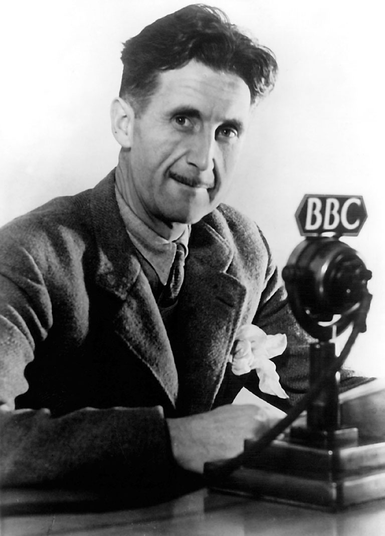 Photo of George Orwell in BBC, 1940. Via BBC.