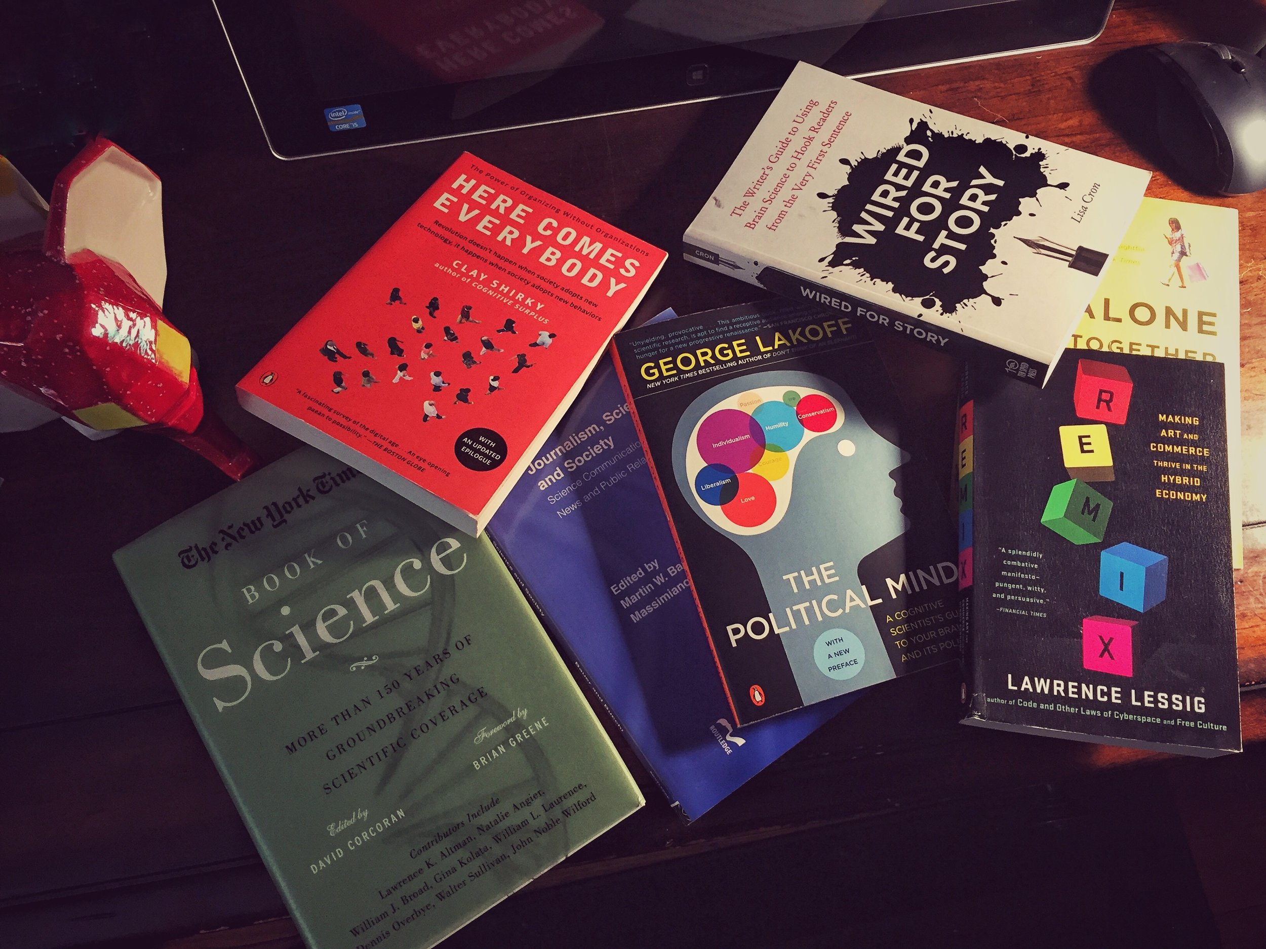 A sample of my science and communications bookshelf.