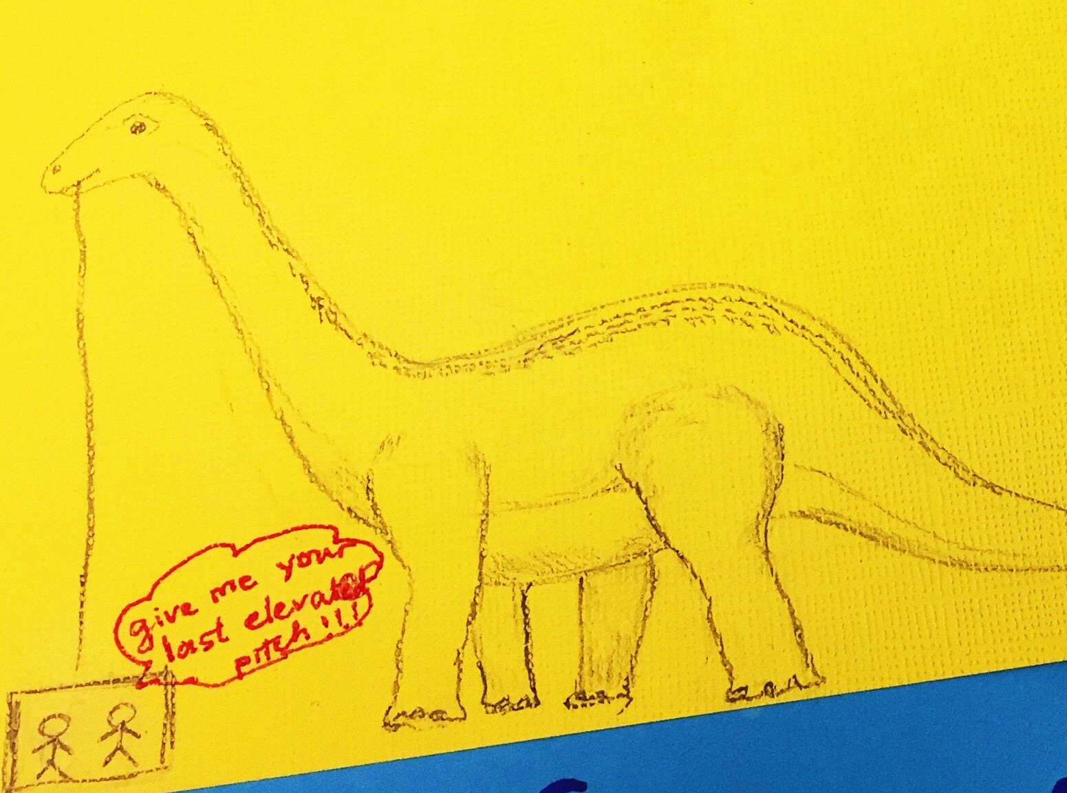 A friendly message from a #scicomm dinosaur a student recently drew for me!
