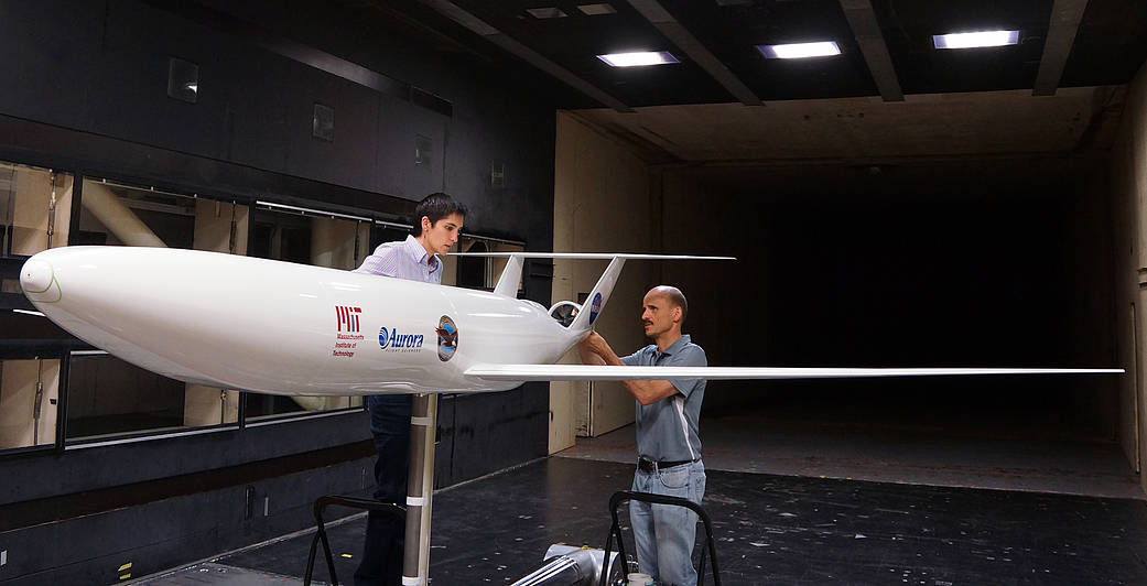 Aircraft model testing in NASA Langley's 14x22-Foot Subsonic Tunnel. Credit: NASA Langley.