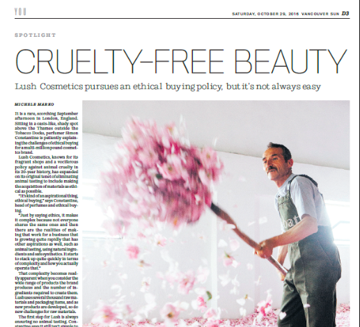 Vancouver Sun - Cruelty-free beauty, September 2016