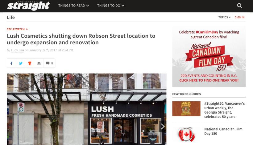 Georgia Straight - Lush Cosmetics shutting down Robson Street. January 2017.