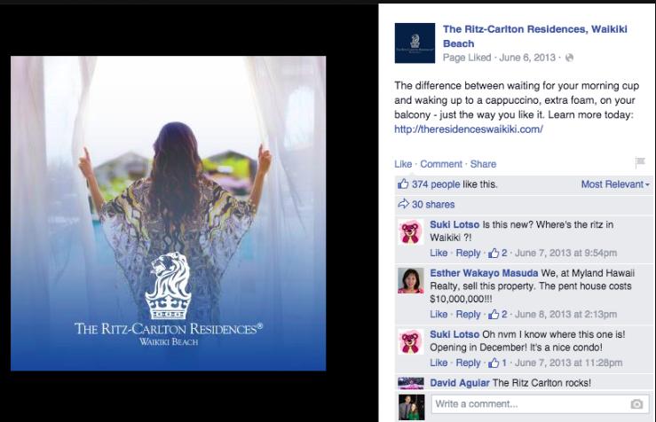 The Ritz-Carlton Residences, Waikiki Beach. Social Media campaign 2013