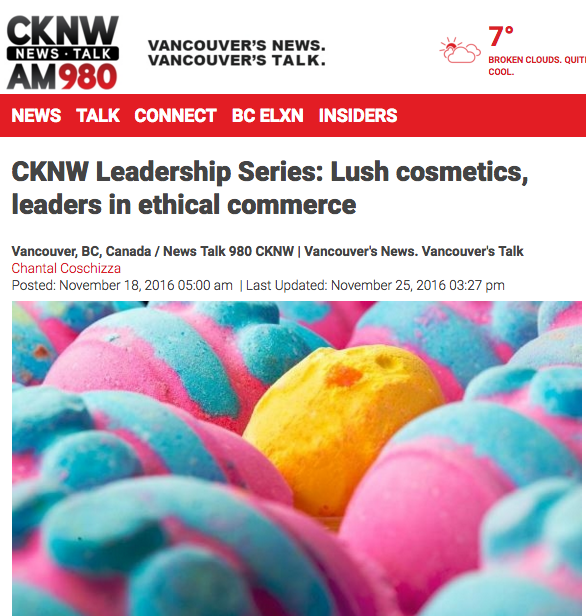 CKNW Leadership Series: Lush cosmetics, leaders in ethical commerce, November 2016