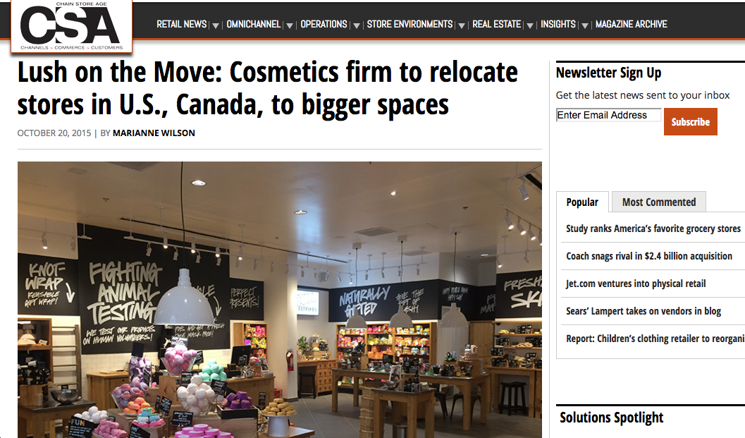 Lush on the Move: Cosmetics firm to relocate stores in U.S., Canada, to bigger spaces , October 2015