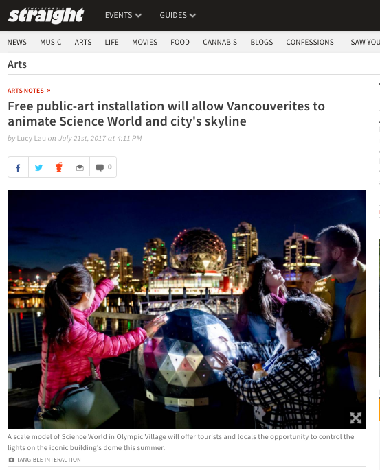 Free public-art installation will allow Vancouverites to animate Science World and city's skyline, July 2017