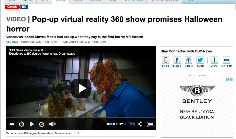 Pop-up virtual reality 360 show promises Halloween horror | CBC Vancouver News  | Client: Moves Media