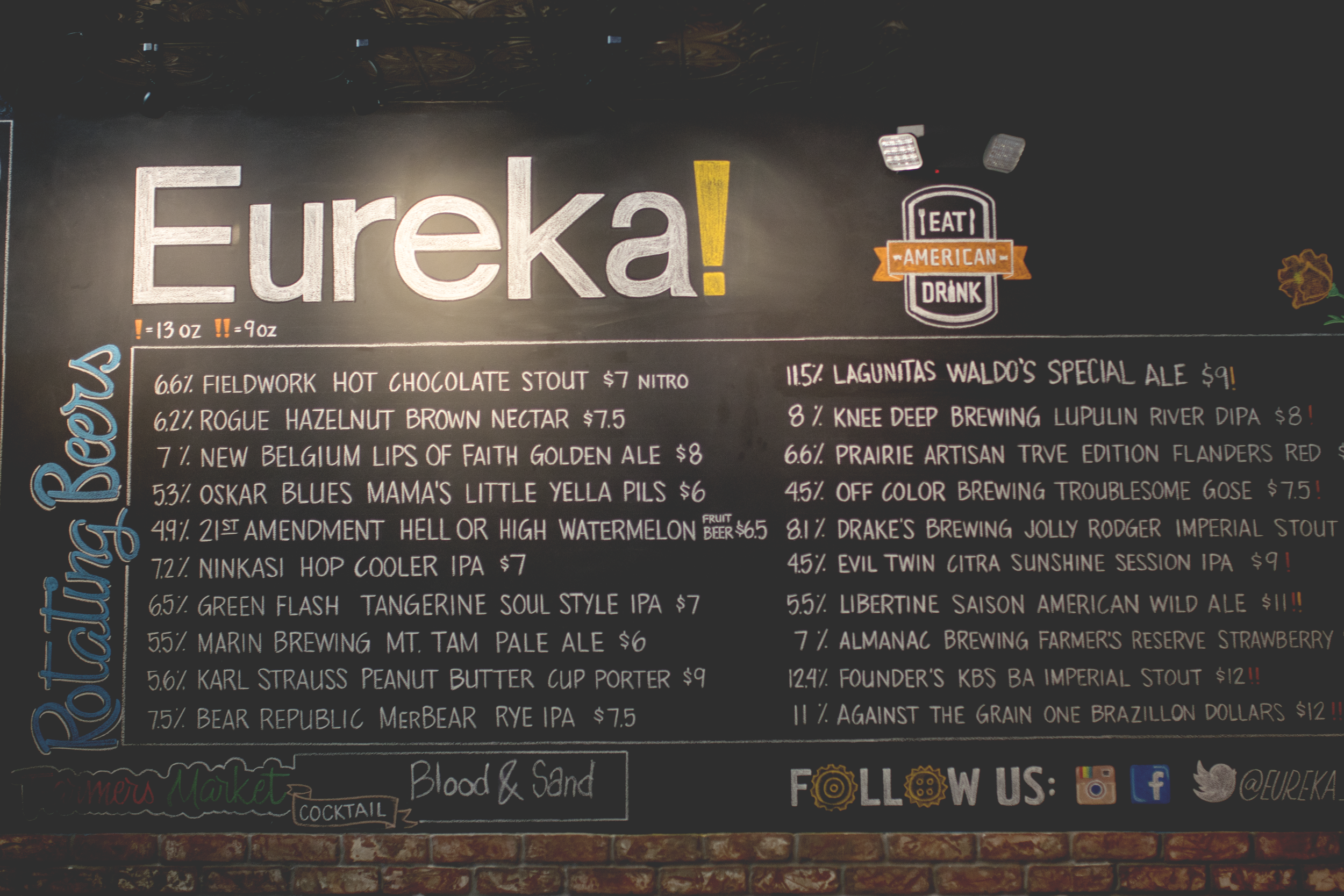Eureka's craft beer line up