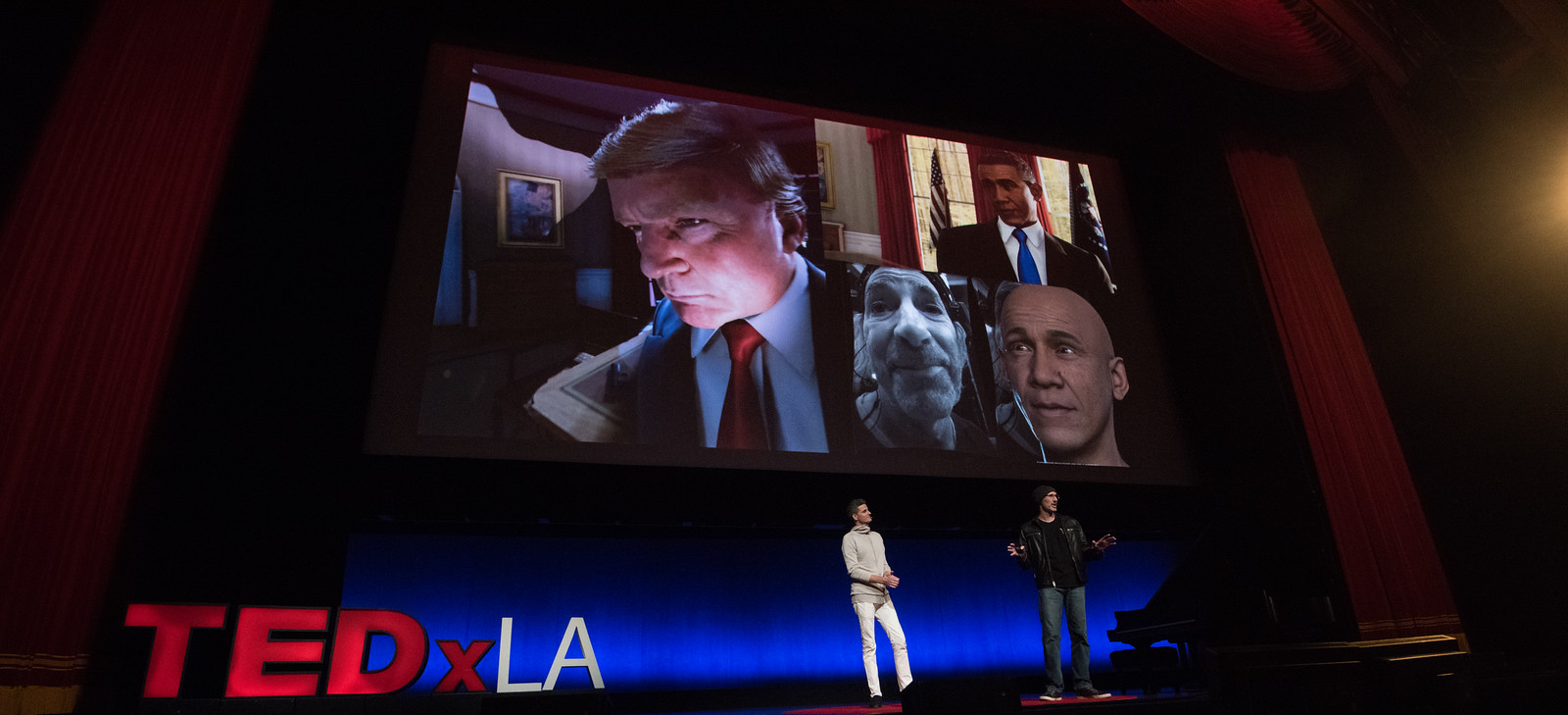 """John MacInnes and Remington Scott discussing """"Too Soon?""""at the Dolby Theater in Hollywood for TEDx LA 2016."""