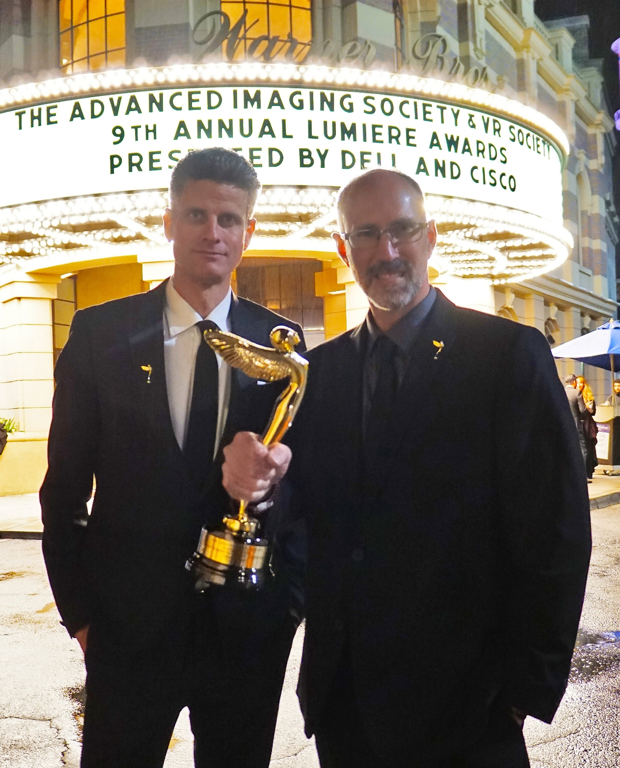 "John MacInnes and Remington Scott, co-founders of MacInnes Scott, recipients of ""Best Augmented Reality Experience"" at the 2018 Advanced Imaging Society and VR Society's Annual Lumiere Awards"
