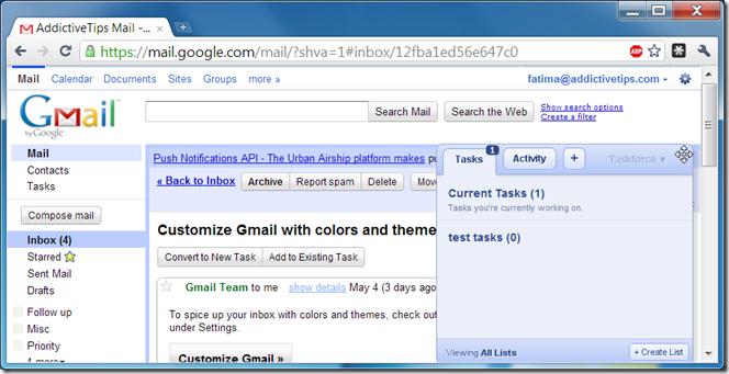 Pantalla de Taskforce en Gmail