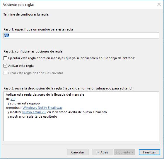 Una regla para notificaciones VIP en Microsoft Outlook