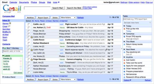 Remember The Milk integrado en la interfaz de Gmail