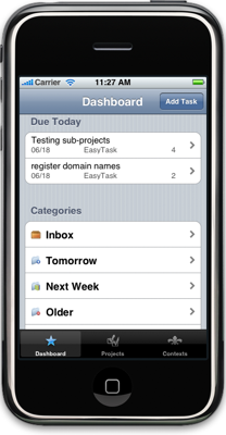 Pantalla de EasyTask Manager iPhone