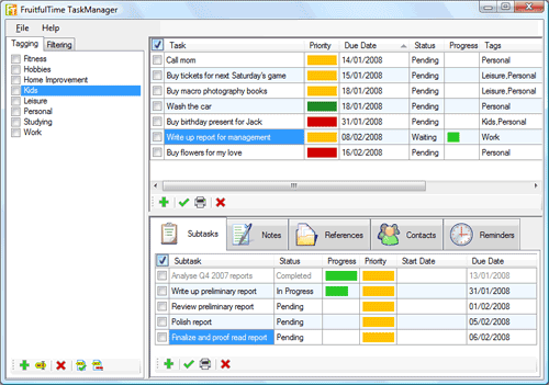 Pantalla de FruitfulTime TaskManager
