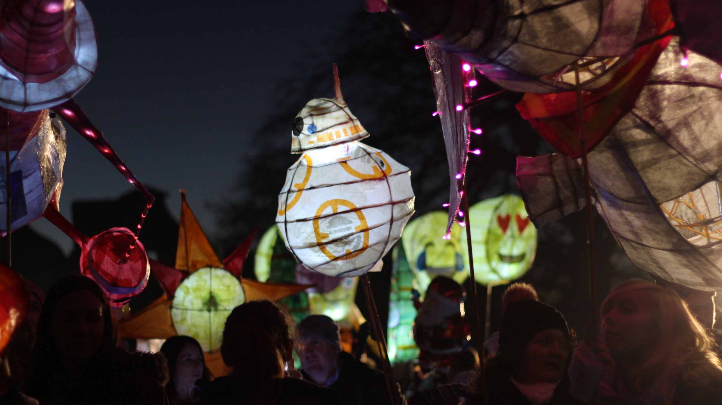 Filming at the Bolsover Lantern Parade in November 2016