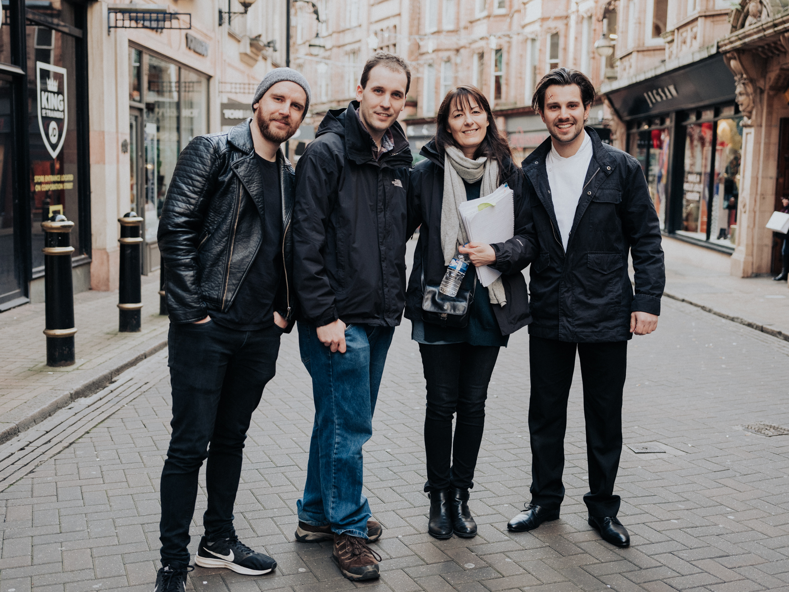 From L to R: Ben Errington (Writer), Christopher Bevan (Director), Belinda Basson (Producer) and Adam Horvath (Actor, Marcus)