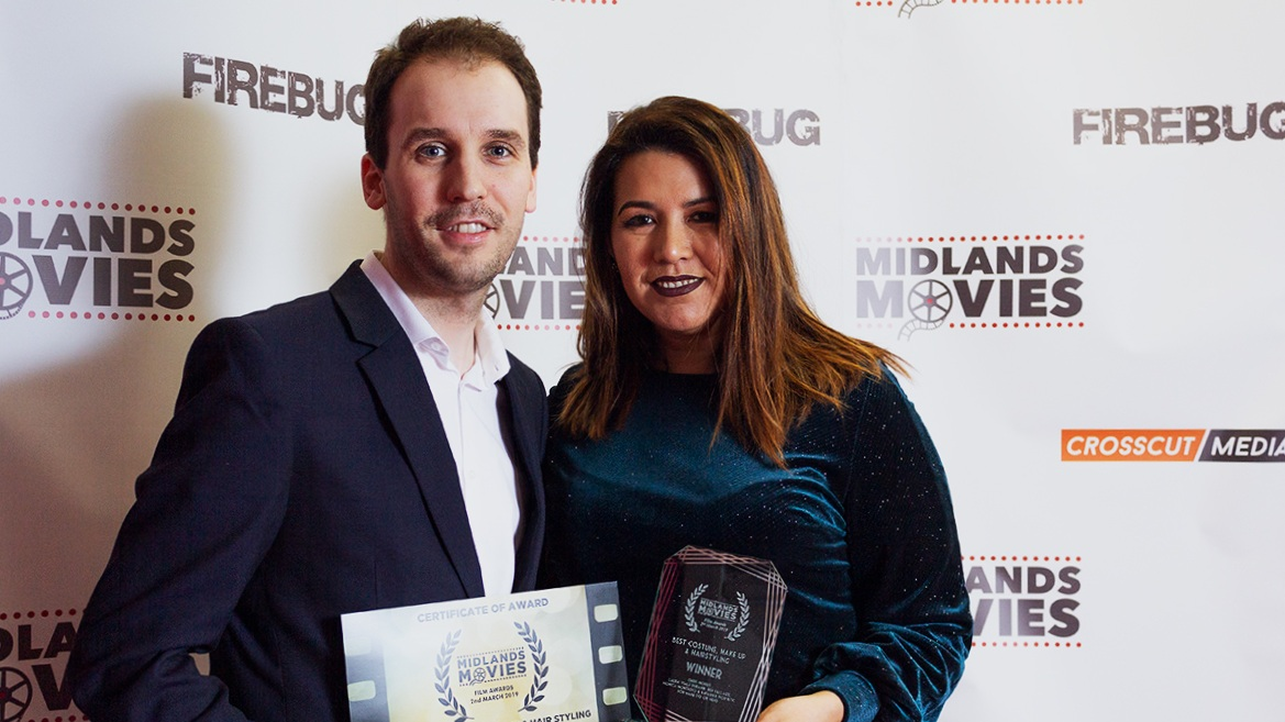 Director Christopher Bevan and Hair and Make Up Artist Monica Montalvo with the award for Best Costume, Make-Up and Hairstyling at the Midlands Movies Awards 2019