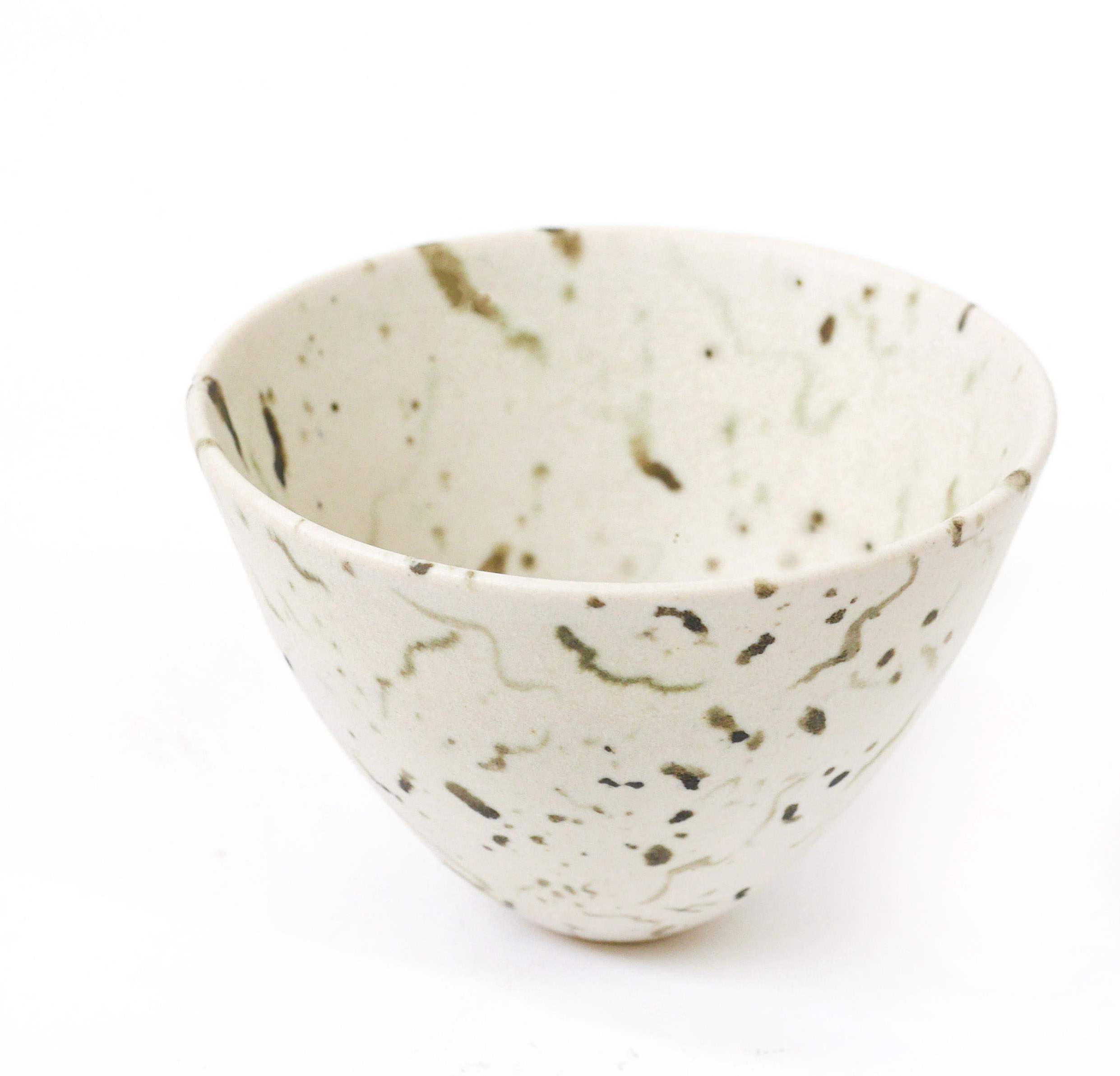 Matte glazed thrown and handpainted stoneware 'Cirl Bunting' eggshell bowl