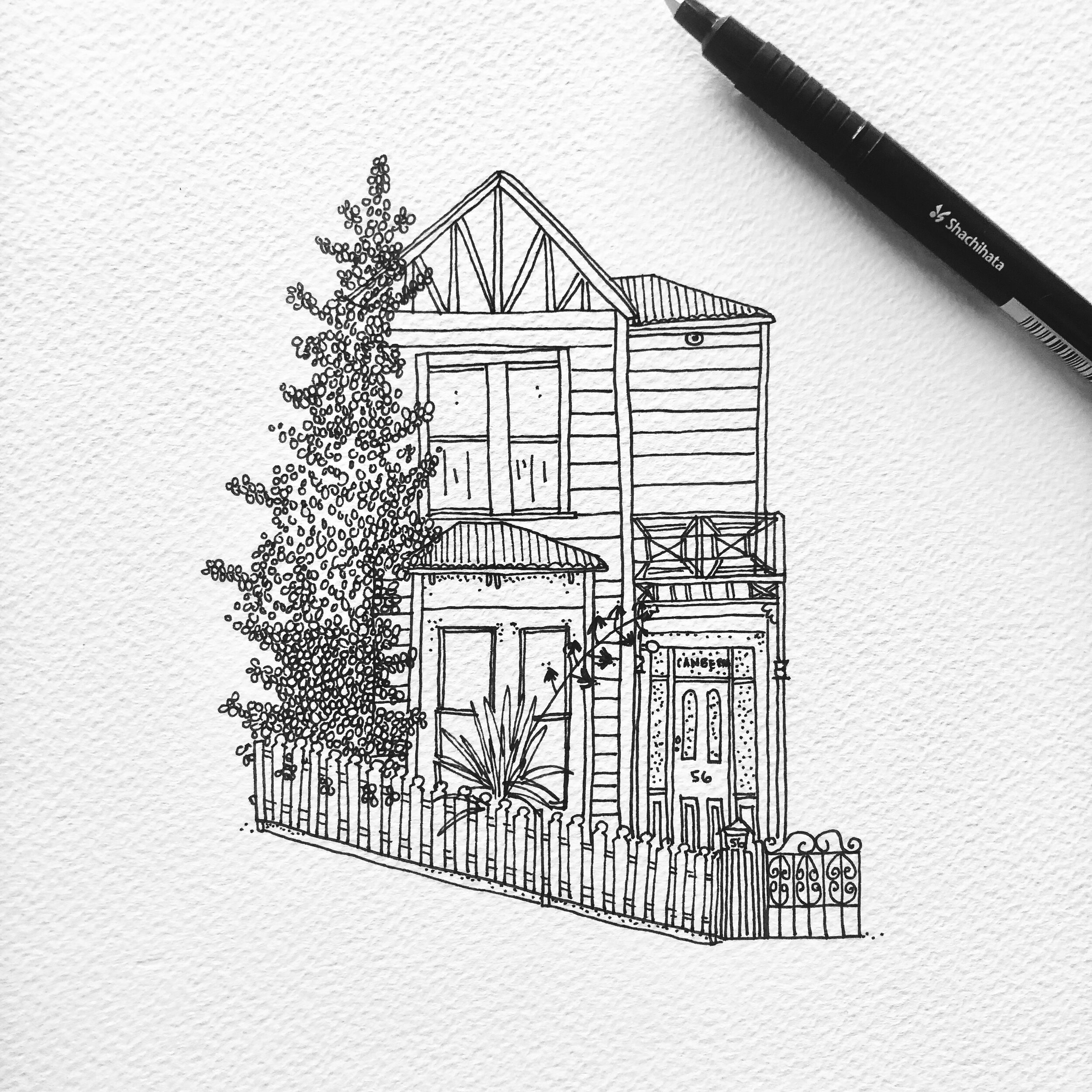 Draw My Home Bespoke Little House Illustrations Georgia Draws A House