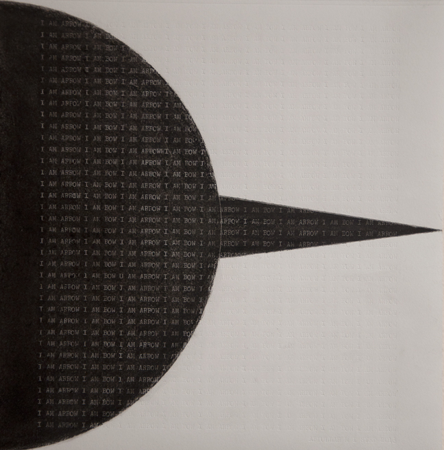 I am Arrow I am Bow: A Page from Brut Nama,  2013, Charcoal and type on Canson paper, 20 x 20 cm