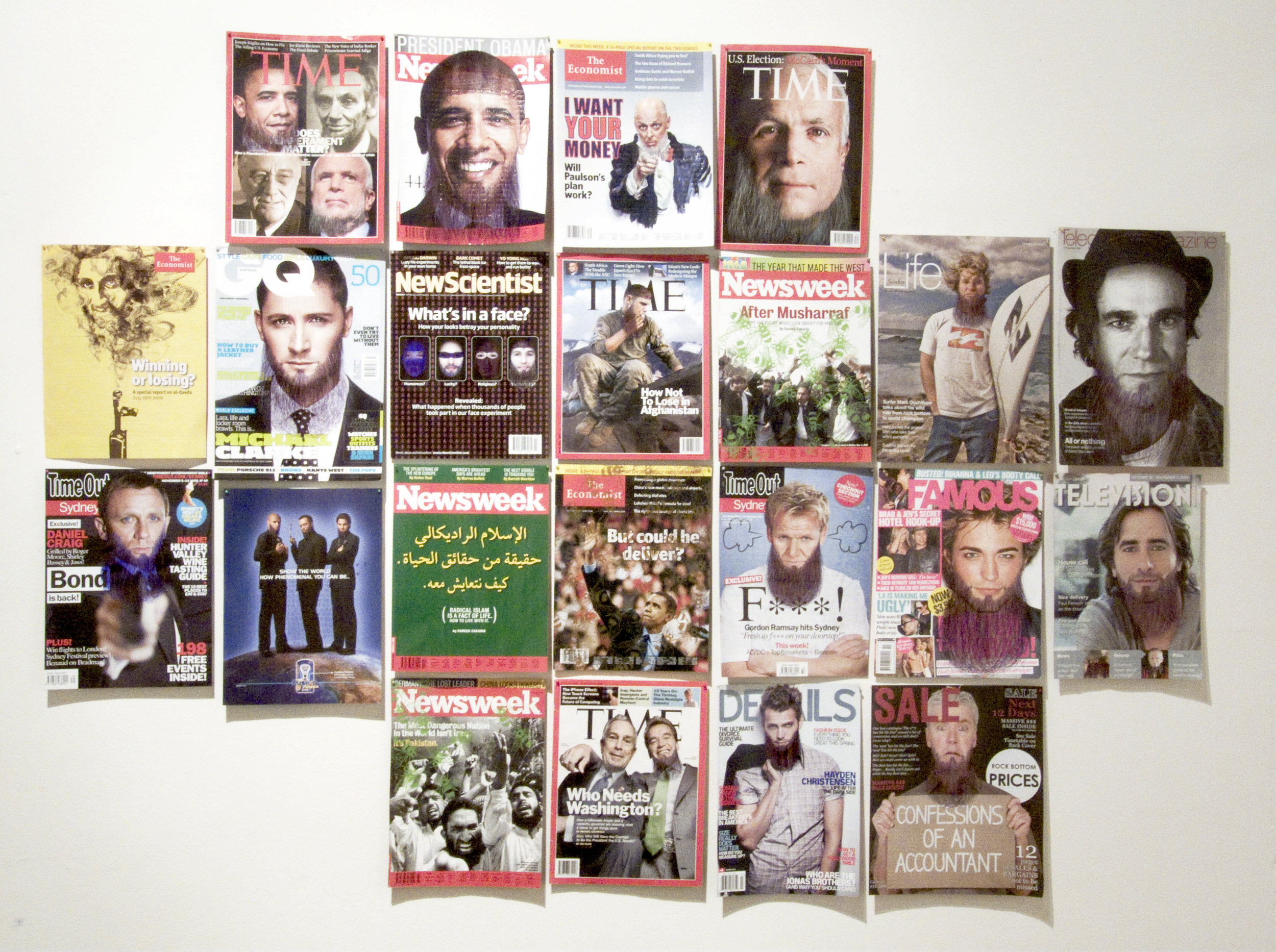 MakeOver series  (2008-), Ballpoint and blade on various magazine covers, dimensions variable.