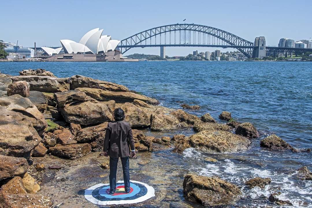 Soft Target: Opera House and Sydney Harbour Bridge, Mrs. Macquarie's Point at Sydney Harbour, Sydney, 2013, UV Inkjet Print, photograph taken by Ben Rak