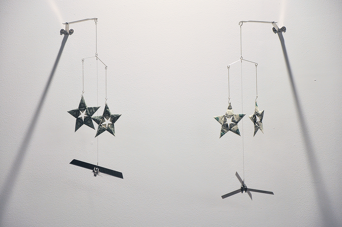 Twinkle Twinkle Little Drone  - Mobile series, Altered toy mobile, banknotes, stainless steel, plastic and metal wire, various sizes, Installation dimensions variable