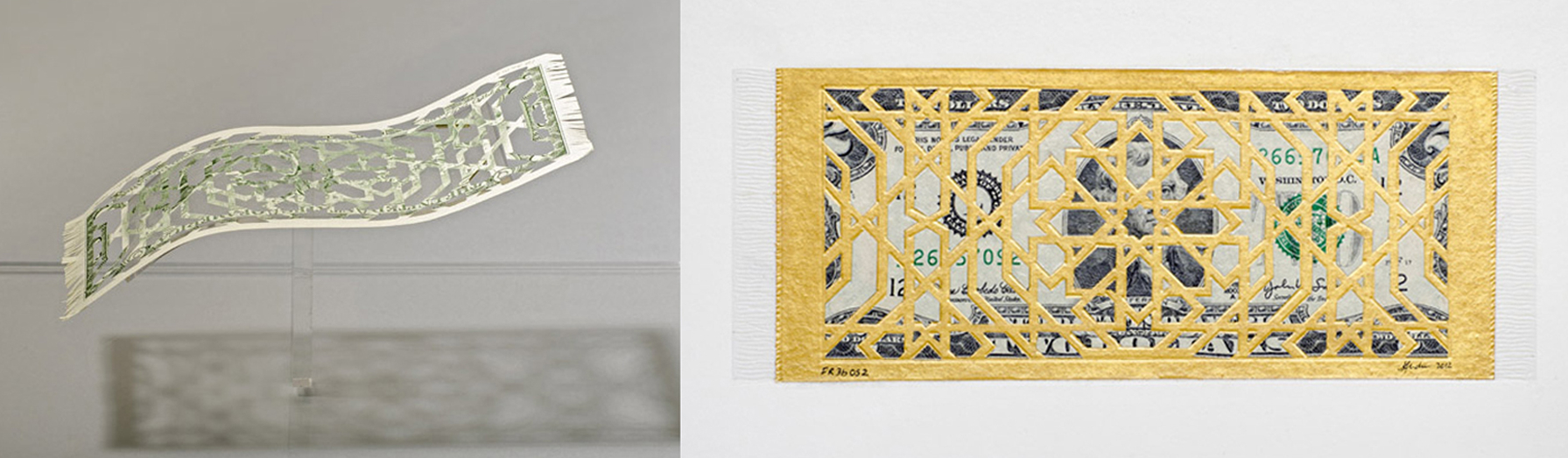 Deconstruction of the Myth of the Flying Rug , 2012 - (ongoing), diptych, Handcut currency collage on gold inked Vasli paper and US$ bill in custom Perspex vitrine, Dimenstions variable.