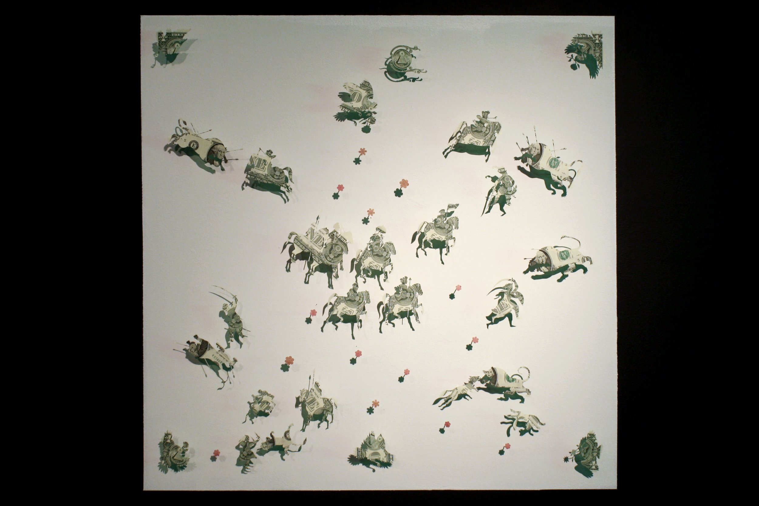 Assembly I: Hunter's Game, 2013,Hand-cut and folded uncirculated 1US$ bills, 100 Pakistani Rupees, 90 x 90 cm.