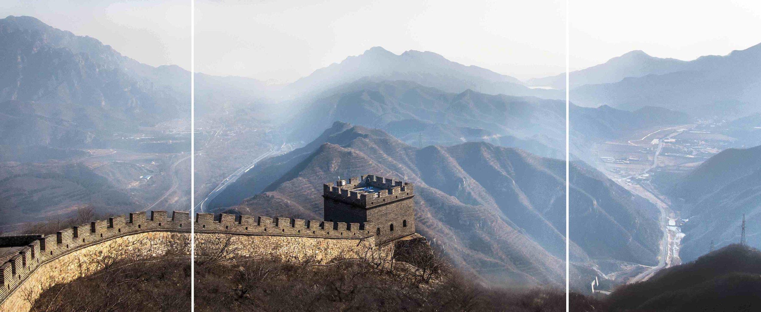 Soft Target: 4th Watchtower, Juyongguan Pass of Great Wall of China, Beijing, 2014, triptych, UV Inkjet Print, Photograph taken by Zhan Qian (Jane)