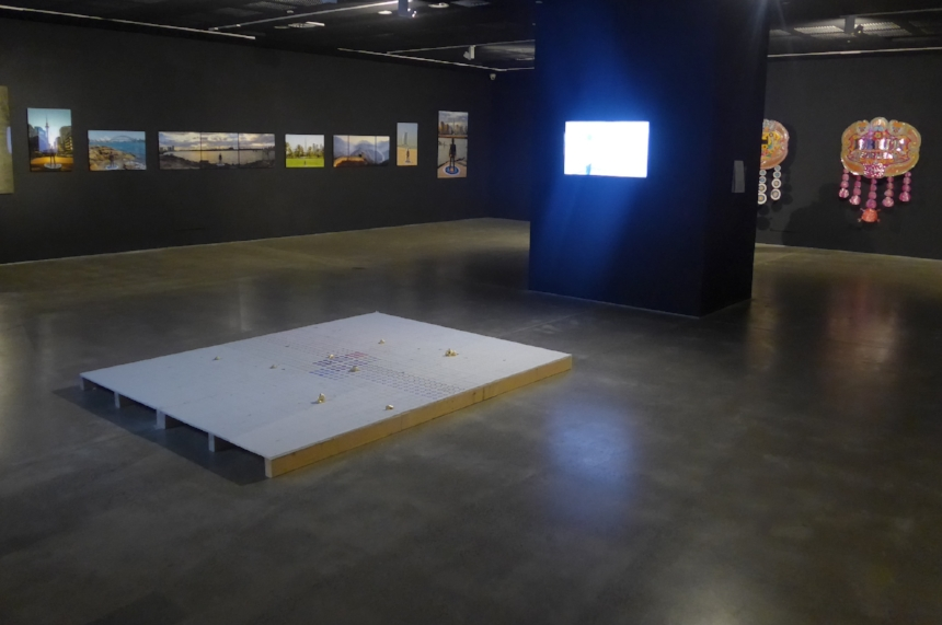 Charbagh (2013) Installation, Performance video documentation and pelted painted wall as a relic