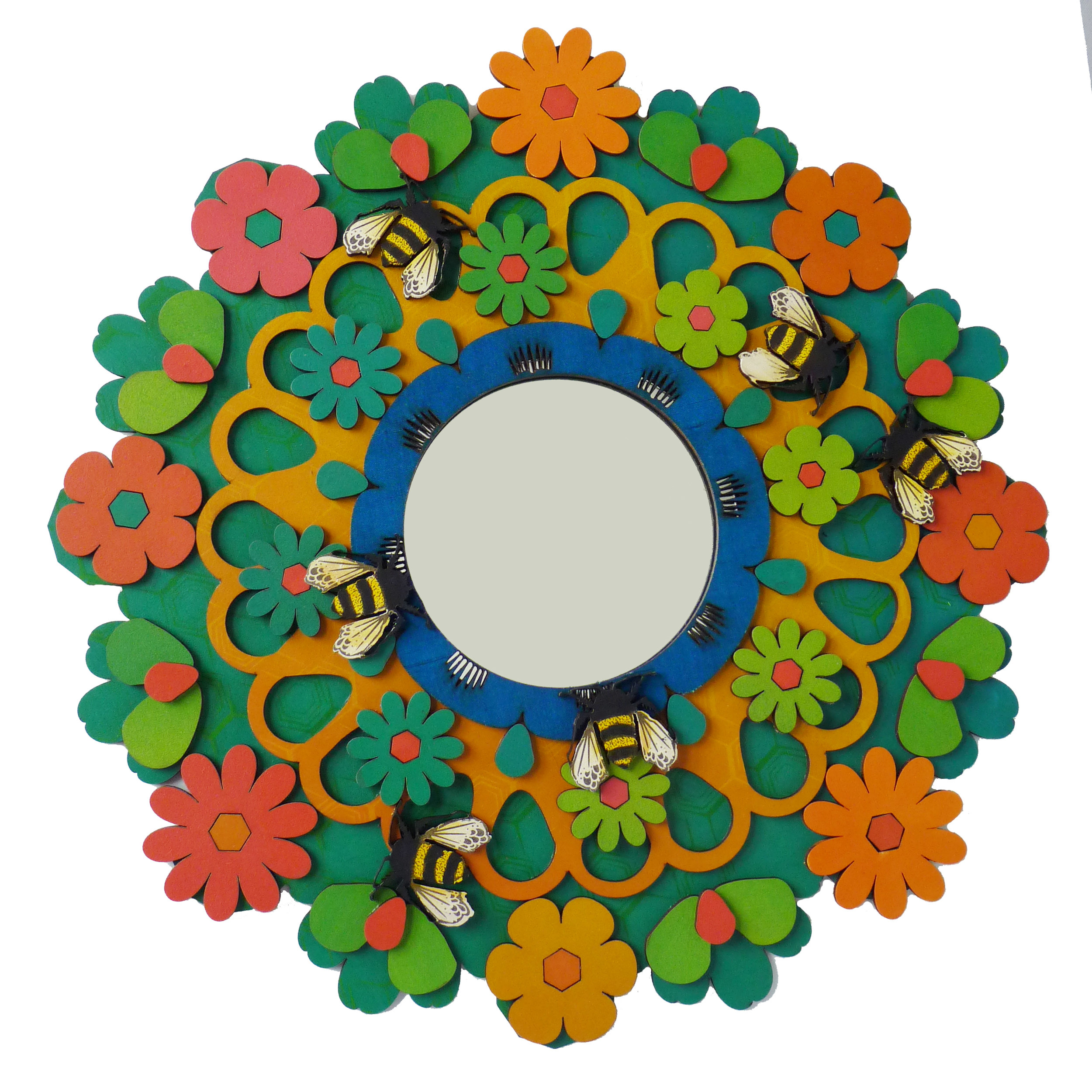 Mega Flowerburst lasercut and screenprinted Mirror