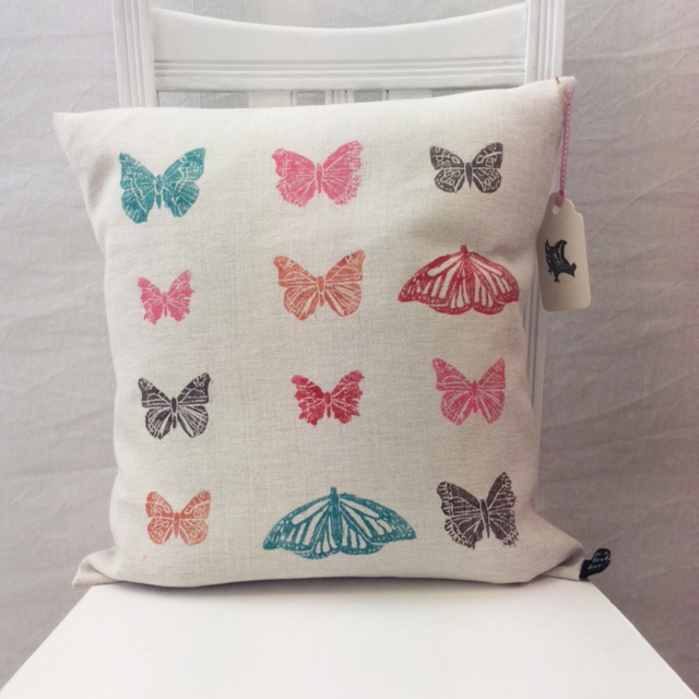 Lino cut print Butterfly cushion by Kate Tarling