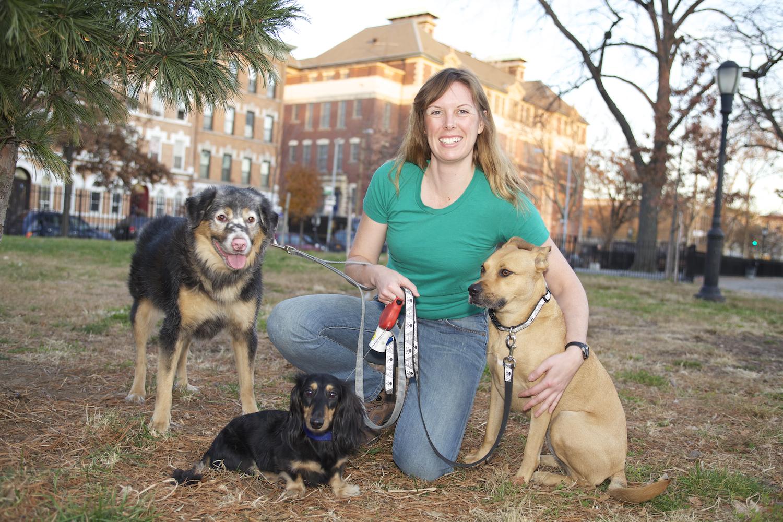 Stuey, Waylon, me and Yoyo in Maria Hernandez Park. Photo by Susan Alzner.