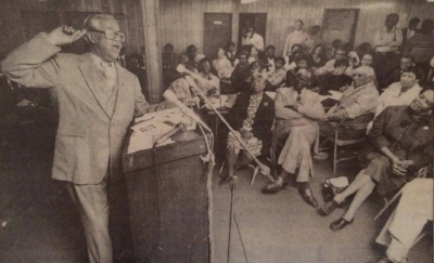 The author's grandfather, Dr. Jack Brooks addresses an audience after a 1986 civil rights march via Fort Worth Star-Telegram Archives.